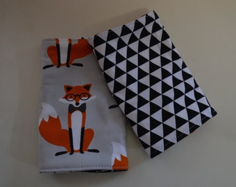 Fox and Hound and Black Triangle Reversible Baby Carrier Drool Pads - Baby Carrier Drool Pads - Fits most Carriers - Ready to Ship
