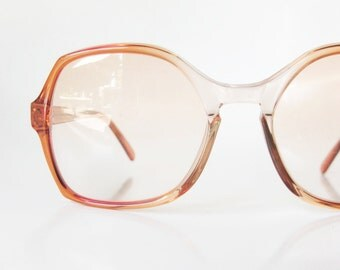 vintage french eyeglass frames 1970s red apricot clear eyeglasses glasses 70s nerd indie hipster chic geek france deadstock nos girls