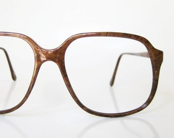 SALE Vintage Faux Bois Glasses Mens Guys 1960s Homme Coffee Brown Indie Hipster Chic Deadstock Boxy Oversized Eyeglasses Sunglasses Optical