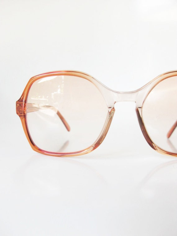 Vintage French Eyeglass Frames 1970s Red Apricot Clear