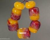 Boro beads, (qty 7) Lampwork Glass Bead Set, Lemon yellow base and Fuchsia accents   SRA Artisan beads ---  #189