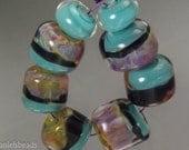 Boro beads, (qty 8) Lampwork Glass Bead Set   Sky Blue and lilac SRA Artisan beads ---  #196