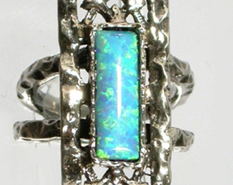 Blue lab opal set on silver ring / Israeli handcrafted ring sterling silver 925 set with blue  opal