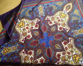 Vintage Scarf KALEIDOSCOPE Purple, Blue, Mustard 1970s Fashion