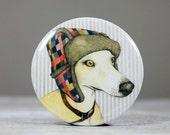 Whippet pocket mirror - dog drawing - whippet gift - hand mirror - animal illustration