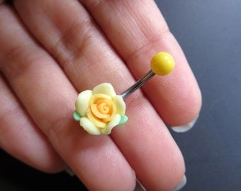 Belly Button Ring Jewelry, Detailed Yellow Rose Belly Button Ring Flower Navel Stud Jewelry Bar Barbell Piercing Belly Button Ring Jewelry
