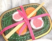 SALE Pink and Orange Baby Washcloth Sushi Set THE ORIGINAL