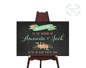 PRINTABLE Large Custom Chalkboard Wedding Sign // Welcome Wedding Sign // Reception Sign // Wedding Sign // Custom DIGITAL file