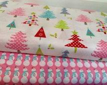 Riley Blake Christmas Fabric Duo Christmas Trees Snowman 2 yards total