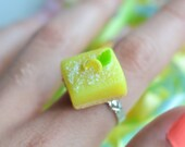 Gourmet Lemon bar ring -Scented miniature food jewelry