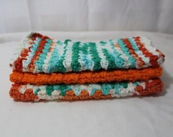 Set of 3 Hand Crocheted Dish Cloths, Fall Colors, Orange, Aqua, Green, Ivory