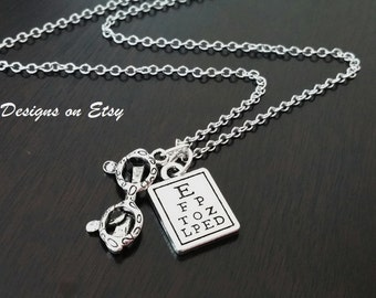 Optometrist Opthamologist Eye Doctor Reading Eye Chart Eyeglasses Necklace