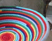 Handmade Coiled Fabric Basket - Colors Of The Chakras - LARGE