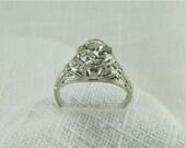 Circa 1930's Diamond and Platinum Ring with 1.08 Carat Old European Cut Diamond