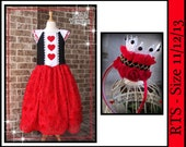 Custom Boutique Halloween Costume Queen of Hearts Wonderland Dress -- includes crown headband and heart wristband size 11 12 13