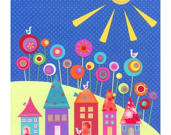 Colourful Print - fun print - Fine Art Print - colorful wall art - home decor - floral print - house art print - 'UNDER A WARM SUN ' A4
