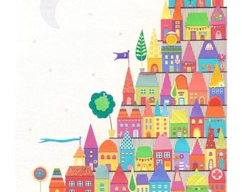 Colourful Print - wall art - home decor print - village art print - harbour print - fun print - gift for women - 'The MOON SHONE SILVER' A4