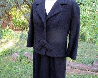 Vintage Classic Black 60's Wool Black Shift Dress with Jacket And bow closure L