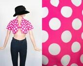 Vintage 60s Mod Jacket / 1960s Bolero / Pink Polka Dot Crop Top / Cropped Jacket  / Mini Mouse / Pop Art / Small / Medium