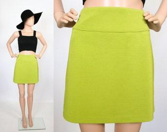 Vintage Mod Mini Skirt / 90s does 60s Skirt /  1990s Revival / 1960s Twiggy / Citrus Green / Color Block / Medium