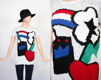 Vintage 80s Pop Art Sweater / 1980s Slouch Sweater / Graphic Knit Top / Slouchy Jumper / Oversized / Throw Back Shirt / Small / Medium