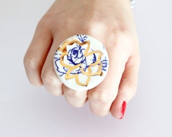 Flower Statement Ring -  ceramic ring, cocktail ring, boho ring, flower ring, Studioleanne, Highlighted with 14K gold