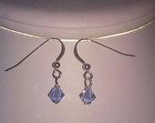 December birthstone swarovski crystal earrings light sapphire blue(Reserved Custom Order for Donna)