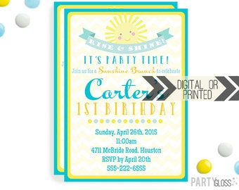 Sunshine Birthday Invitation | Digital or Printed |  Breakfast Party | Brunch Birthday Invite |  Boy Sunshine Invite | Brunch Birthday Party