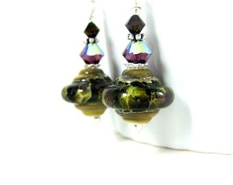 Brown Purple Ivory Earrings, Rustic Earrings, Dangle Earrings, Glass Drop Earrings, Lampwork Earrings, Boho Earrings, Earthy Earrings