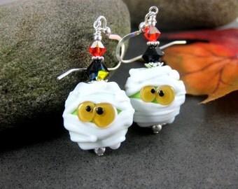 Mummy Earrings, Halloween Earrings, Monster Earrings, Funny Earrings, Silly Earrings, White Green Yellow Lampwork Earrings, Scary Halloween