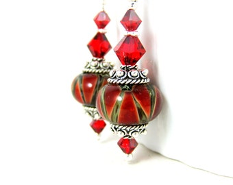 Red Lampwork Earrings, Boho Dangle Earrings, Sterling Silver Earrings, Glass Drop Earrings, Fall Autumn Jewelry, Bohemian Jewelry