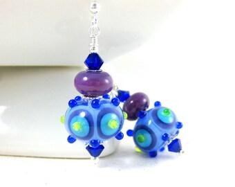 Funky Blue Purple Earrings, Lampwork Earrings, Glass Earrings, Unique Earrings, Unusual Dangle Earrings, Bright Color Jewelry, Fun Jewelry