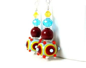 Red Aqua Blue Yellow Earrings, Funky Earrings, Lampwork Earrings, Colorful Glass Earrings, Fun Dangle Earrings, Bright Color Jewelry