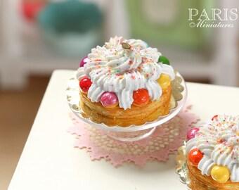 """Rainbow St Honoré """"Arc en ciel"""" - Miniature Food in 12th Scale for Dollhouse"""
