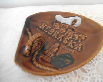 Mid Century Nebraska Old West Country Western ~ Vintage Ceramic Souvenir Ashtray