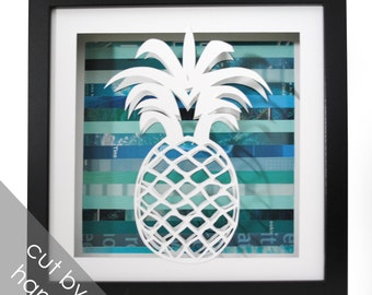 pineapple shadowbox- made from recycled magazines, beach, summer, waves, blue, teal, fruit