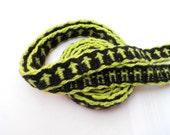 Viking Rune Tablet Weaving Wool Trim in Green and Black