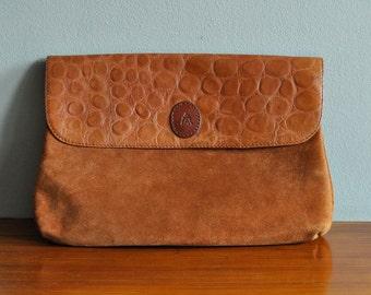 suede clutch / leather purse / alligator clutch