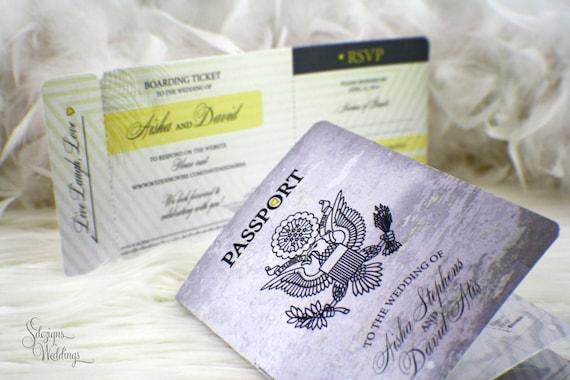 passport wedding invitation boarding pass destination wedding