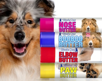 COLLIE Nose to Toes Kit NOSE BUTTER® for Dry Noses, Paw Butter for Rough Paws & BooBoo Butter for Discomforts Collie Labels in Gift Tin