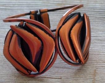Vintage RAME' Copper Modernist Hinged Clamper Bangle Bracelet