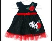 Girls Rockabilly Dress in Black Lace, Red Velvet,   Skulls, Bones and Roses ........Size 0-3 months girls