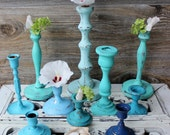 Beach House Candlestick Collection of 10 for Nautical Home Decor & Beach Wedding Decoration