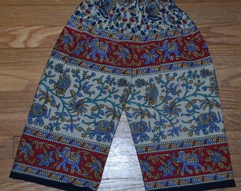 Hippie Kids pants-size 2- Red Grey small Elephant-Boys or Girls- Read measurements