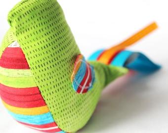 Sound Bird - Primary Stripes - A Natural Montessori Baby Toy