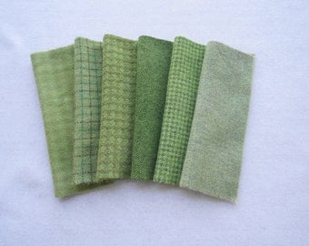 Green - Spring Green Hand Dyed felted wool fabric bundle - for Wool Applique, Penny Rugs, Rug Hooking & Quilting #7004 by Quilting Acres