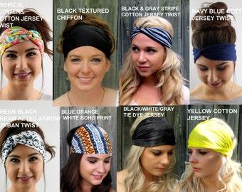 Wide Stretchy Yoga Headband, Choose ANY FOUR - Head Wrap Workout HeadBand Cotton Jersey Headband Hair Wrap Wide Headbands Turband- 40 Colors
