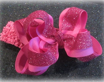 Bling Hair Bows, Glitter Hair Bows, Large TEXAS Sized Bow, Boutique Bows, Pink Glitter Bows, 5 or 6 inch hairbows, Pink Glitter Hairbow tdgl
