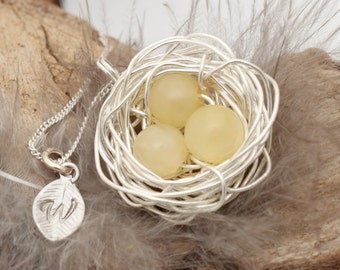Personalized bird nest necklace with three topaz eggs and initial charm- silver plated woven wire- November birthstone- crystal healing