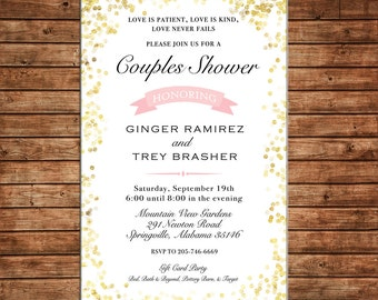 Glitter Confetti Couples Gold Silver Shower Bridal Wedding Brunch Birthday Party Invitation - DIGITAL FILE